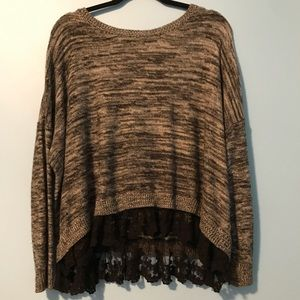Sweater with lace trim